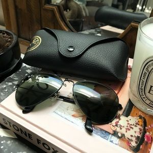 Ray-Ban 55mm Aviators w/ Black Frame Black Lens